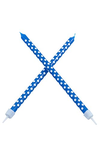 Long Party Candles and Holders, Blue, 1-Pack (10 Candles in -