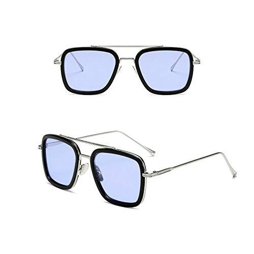 Retro Vintage Aviator Iron Man Sunglasses Tony Stark Glasses Square Metal Frame for Men Women Goggle Classic Alloy Frame