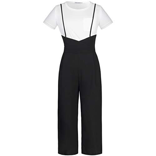 BELONGSCI Women 2 Pieces Outfits Suit Sweet & Cute T-Shirt Top + Strapless Gallus Wide Leg Jumpsuit Pocketed Ankle Overalls by BELONGSCI (Image #3)