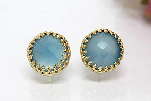 Anemone Jewelry 5CT Chalcedony Earrings - Elegant Blue Gemstone Jewelry - Exquisite 14K Gold Earrings With Free Fancy Box [Handmade] ()