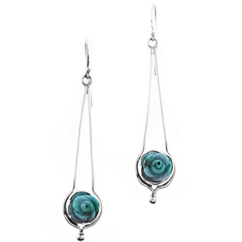 Turquoise Flower 925 Sterling Silver Long Earrings, ()