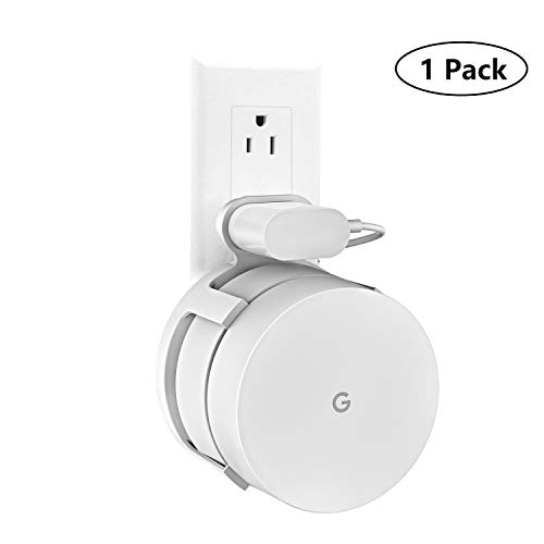 DECOBEE Google WiFi Wall Mount Bracket, WiFi Accessories for Google Mesh WiFi System and Google WiFi Router (No Messy Screws),Indoor Use (White(1 Pack))