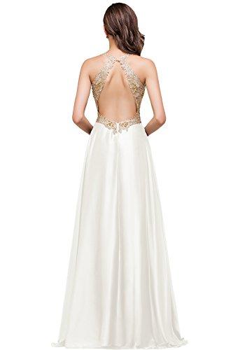 Babyonlinedress Vestido largo de novia de satén para boda y fiesta vestido con aplicaiones estilo A line y elegante marfil
