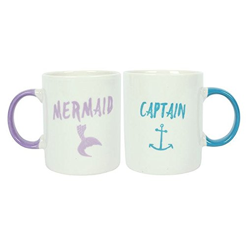 Captain & Mermaid Pink & Blue Mugs - SET OF 2 Wedding Anniversary Gift Mr And Mrs Present for the Bride and Groom Hunky Dory Gifts