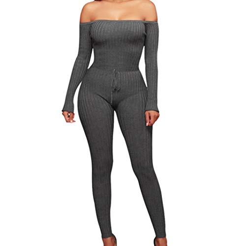 iYYVV Women Fashion Fancy Off Shoulder Long Sleeve Sexy Bodycon Hip Rompers Jumpsuit Gray