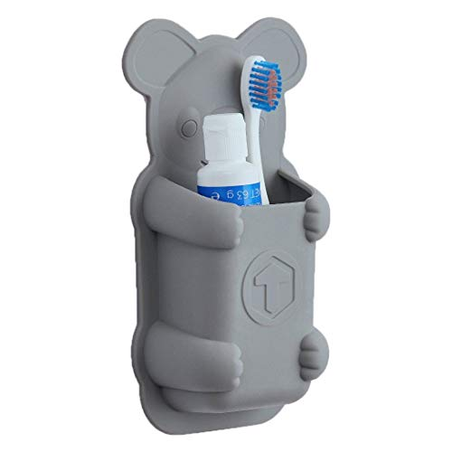 Tooletries - Koala Pouch (Grey), Silicone Waterproof Toothbrush Holder For Small Toiletry -