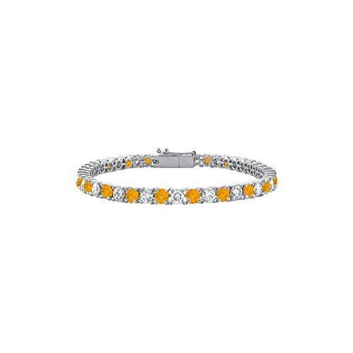 - Citrine and Cubic Zirconia Prong Set 10K White Gold Tennis Bracelet 5.00 CT TGW