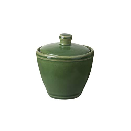 Casafina Stoneware Ceramic Dish Fontana Collection Sugar Bowl, Salt Cellar, Condiment Pot with Lid, 8 oz (Forest Green)