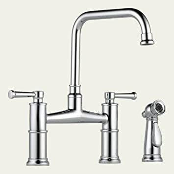 Brizo 62525LF High Arc Bridge Kitchen Faucet With Side Spray From The  Artesso Co,