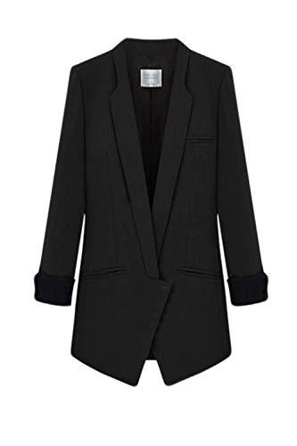 Sudore Primaverile Business Base Di Mode Lunga Tasche Fashion Monocromo Donna Giacca Cardigan Giacche Blazer Marca Classiche Manica Tailleur Elegante Fit Nero Vintage Da Con Autunno Slim A0qPxY6w