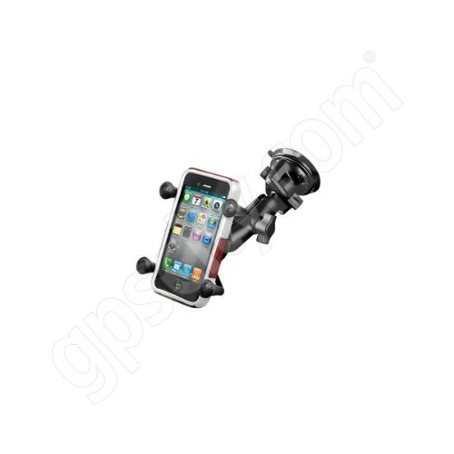 Ram Mount Twist Lock Suction Cup Mount with Universal X-Grip Cell Phone Holder, Black, -