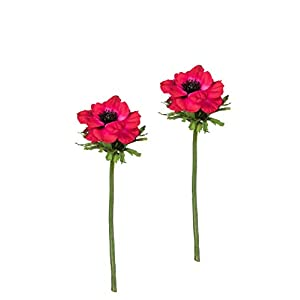 "Sullivans Set of 2 Artificial Red Anemone Flower Stems, 13.5"" 27"
