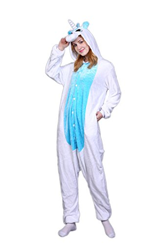 Yutown Adult Unicorn Pajamas Animal Costume Cosplay Onesie Halloween Gift Blue Unicorn M]()