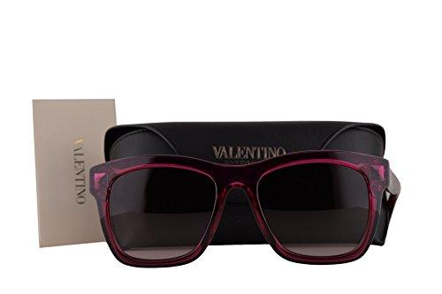 Valentino V725S Sunglasses Transparent Cyclamen Red w/Brown Gradient Lens 681 V - Reading Glasses Valentino