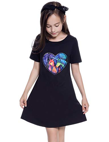 Unicorn Sequin Shirt Dress Girls Reversible Outfit Cotton Short Sleeve School -