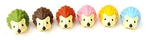 Iwako Japanese Erasers Hedgehog, 6 Piece