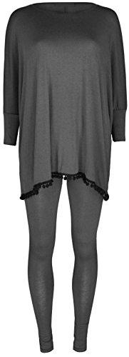 New Womens Ladies Printed Pom Pom Tracksuit Loungewear Top Leggings 2 Piece Suit