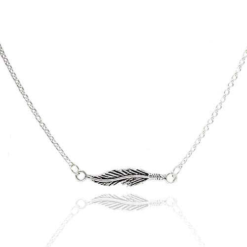 (925 Sterling Silver Simple Single Horizontal Sideways Feather Plume Pendant Necklace, 16-17 inches)