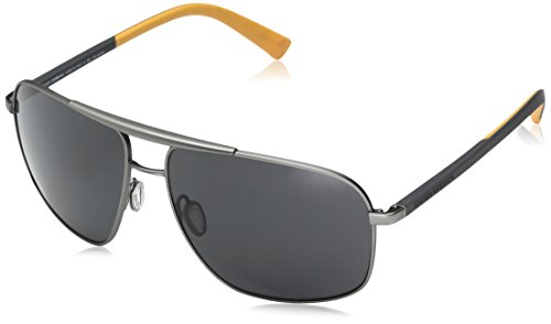 D&G Dolce & Gabbana Men's 0dg2154 Polarized Square Sunglasses, Gunmetal Rubber, 61 mm