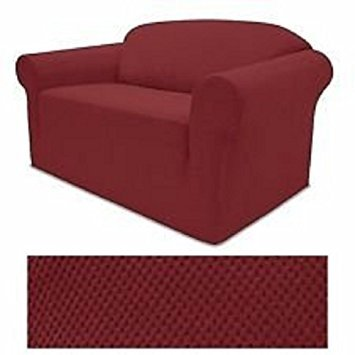 E& A LINEN STRETCH FORM FIT - 3 Pc. Slipcovers Set, Couch/Sofa Loveseat Chair Covers (BURGUNDY) E&A LINEN CORP.