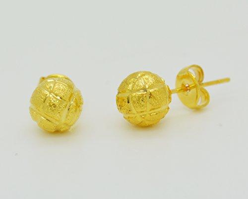 Thai Jewelry 22k 24k Yellow Gold Plated Women Girl Stud Earrings Round (22k Earrings)