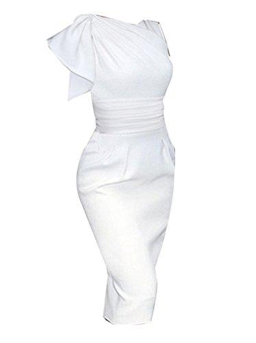 Moda Ginocchio Corta Matita Vestitini Abiti Donna Bianco Abito Vestiti Eleganti Vestito Manica Elastico Slim AqIfzF4I