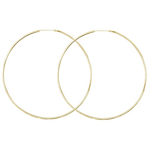 Very Thin Endless Hoops, 40mm 1 5/8' Gold Tone in Gold Tone