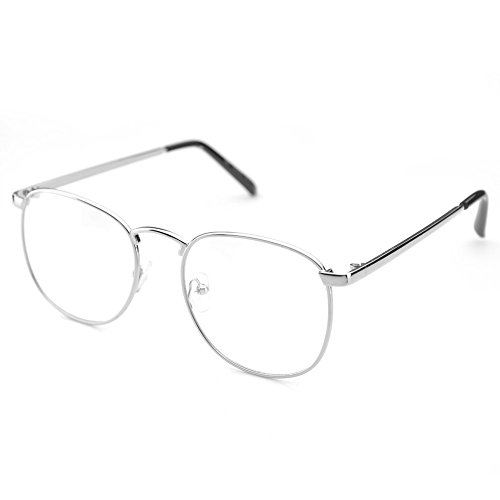 PenSee Oversized Circle Metal Eyeglasses Frame Inspired Horned Rim Clear Lens Glasses - Wire Glasses