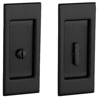 Baldwin PD006.PRIV Santa Monica Privacy Pocket Door Set with Door Pull from the, Satin Black