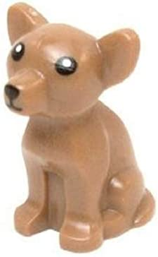 Lego Dog Chihuahua with Black Eyes and White Pupils Pattern