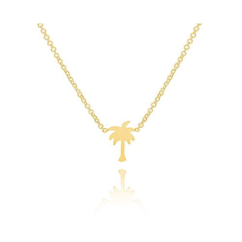MANZHEN Fashionable Gold Silver Tiny Palm Tree Pendant Beach - Palm Necklace Gold