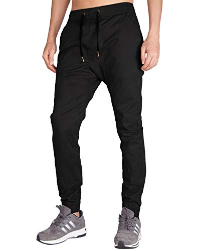 ITALY MORN Men's Chino Jogger Sweatpants Casual Pants M Black