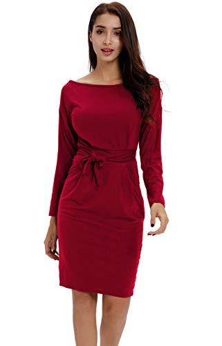 Payeel Office Midi Dresses O-Neck Pencil Dress Pockets with Belt Vest Dresses (#Wine Red Sleeved, S)