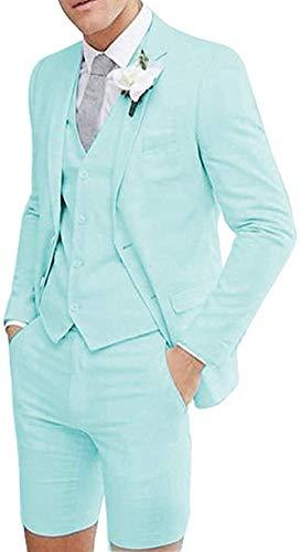 짧은 바지와 AIMICUI 남자 정장 3 조각 공식적인 노치 옷깃 여름 턱시도 슬림 맞는 결혼식을위한 최고의 남자