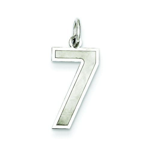 Sterling Silver Medium Satin Number 7 Charm Pendant