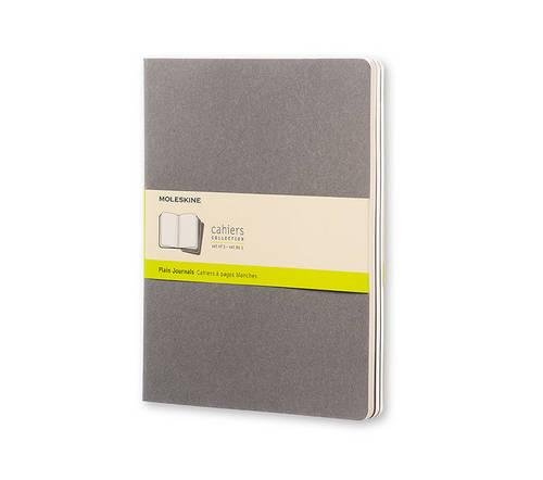 Moleskine Cahier Journal (Set of 3), Extra Large, Plain, Pebble Grey, Soft Cover (7.5 x 10)