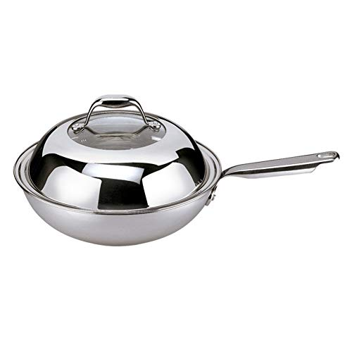 Wok, uncoated 304 stainless steel three-layer bottom non-stick pan without oil pan with 32cm (Color : Silver, Size : 34cm)
