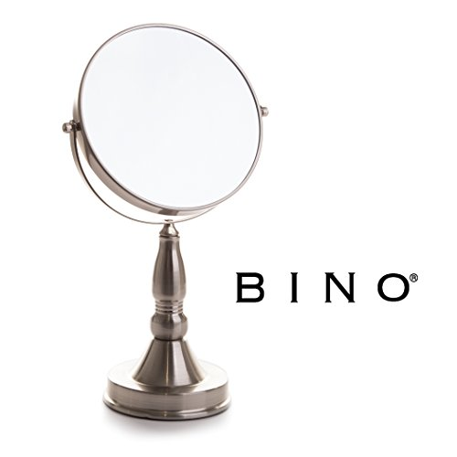 5 X Mirror (BINO 'The Scholar' 7.5-Inch Double-Sided Mirror with 5x Magnification, Satin Nickel)