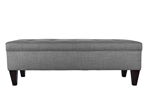 "MJL Furniture Designs Brooke Collection Button Tufted Upholstered Long Bedroom Storage Bench, HJM100 Series, Dark Gray - CONSERVE SPACE: Each Wood Storage Bench for the Bedroom Measures 21""W x 13""H x 56""L and Weighs 47 LBS. This Upholstered Storage Bench Does Not Require Assembly Upon Delivery. STRUCTURAL ENDURANCE: The Upholstered and Tufted Bedroom Storage Bench is Carefully Constructed From Solid, Durable Wood With Espresso Finished Legs. It Has Been Designed for Optimal Quality and Endurance. STUNNING AND ELEGANT: These Storage Benches for the Bedroom Feature Fine and Elegant Upholstery of 100% Polyester. The Bench Lid Features Magnificent Button Tufting as a Finishing Touch. - entryway-furniture-decor, entryway-laundry-room, benches - 31fHVTFWW2L -"