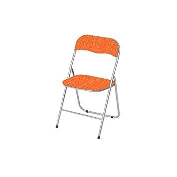Silla acolchada plegable color naranja para interior de ...