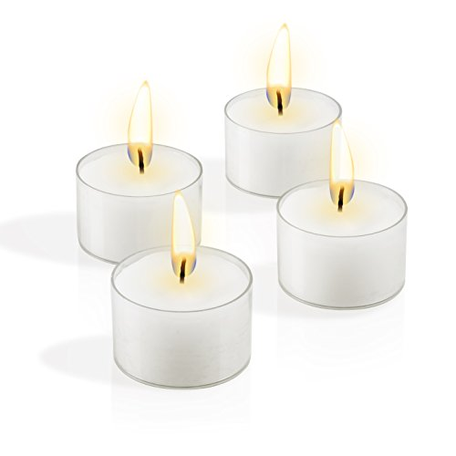 (Simcha Tealight Candles Top Quality No Messy Cleanup Easy Disposal Protects Surfaces Sophisticated Design Burns 8 Hours White Unscented in clear cups - set of 48)