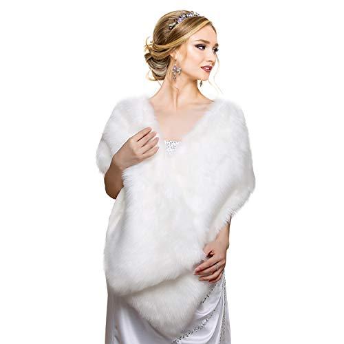 EQLEF Faux Fur Wrap Shawl Shrug, White, Universal -