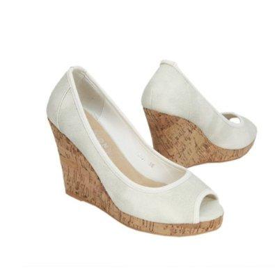 Damen Pumps Keilabsatz Weiss 41 Amazon De Schuhe Handtaschen