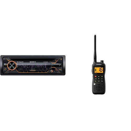Sony MEXGS820BT GS, 160W Hi-Power and Handheld Floating Waterproof with Emergency Strobe VHF Marine Radio, Black (Player Sony Waterproof Cd)