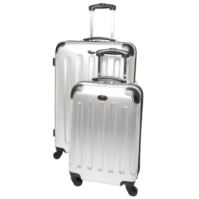 Swiss Case 28″ Spinner SILVER Suitcase + FREE Carry-on luggage set, Bags Central
