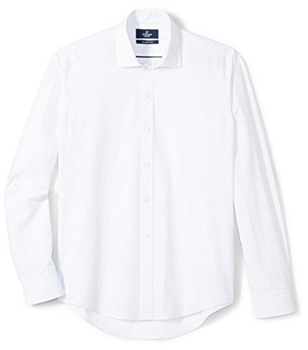 (BUTTONED DOWN Men's Slim Fit Supima Cotton Spread-Collar Pattern Dress Casual Shirt, Light Blue/White Stripe, 17-17.5