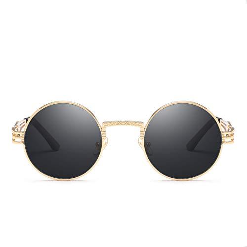 Sol Frame Lens Gold Sol para Hombre Vintage De Color Pesca Pink TLMY Clásicos Gafas Y De Mujer Gafas Sol Gold Black de De Gafas Lens De Frame BqwgES