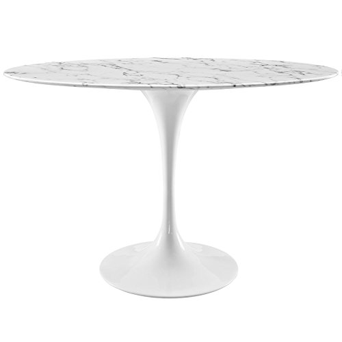 Modway EEI-2021-WHI Lippa Mid-Century Modern Artificial Marble Oval Dining Table with Pedestal Base, 48