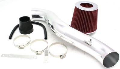 Evan-Fischer EVA42072041089 Cold Air Intake With tube Includes 1-piece sensor hole red filter black coupler breather hose 3 clamps and - Tube Red Filter