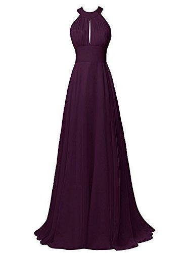 - MenaliaDress Womens Chiffon Long Halter Sexy Backless Bridesmaid Dress M105LF Plum US2